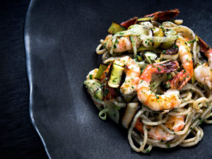 Farro Spaghetti with Prawns Hearth & Dram